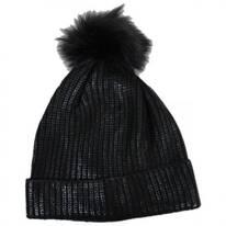 Metallic Pom Beanie Hat