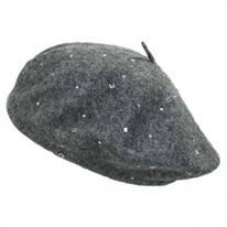 Rhinestone Stud Wool Blend Beret