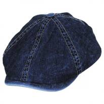 Vintage Denim Cotton Blend Newsboy Cap