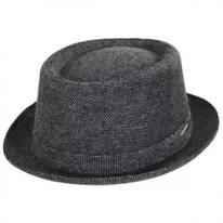Micro Herringbone Wool Blend Pork Pie Hat
