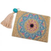 Lotus Beaded Zipper Clutch