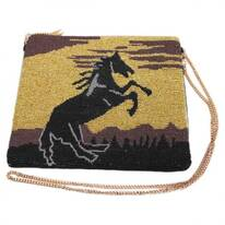 Stallion Beaded Cotton Zipper Clutch