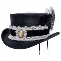 Burlesque Leather Top Hat