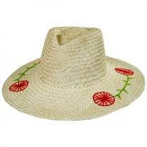 Joanna Embroidered Brim Palm Straw Fedora Hat