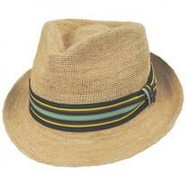 Lorenzo Hand Crocheted Raffia Straw Fedora Hat