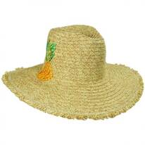 Pineapple Embroidered Toyo Straw Blend Fedora Hat