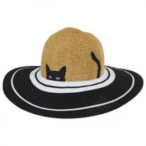 Peeking Kitty Kids Toyo Straw Blend Sun Hat