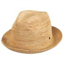 Crochet Raffia Straw Fedora Hat