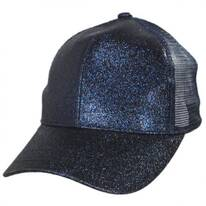 Glitter Mesh High Ponytail Adjustable Trucker Baseball Cap