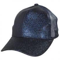 Glitter Mesh High Ponytail Adjustable Trucker Baseball Cap