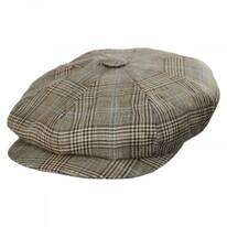 Overcheck Plaid Wool and Linen Newsboy Cap