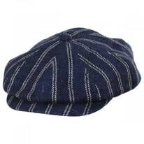 Striped Linen Blend Newsboy Cap