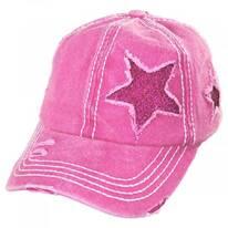 High Ponytail Glitter Star Adjustable Baseball Cap