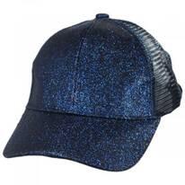 Kids High Ponytail Glitter Mesh Strapback Baseball Cap