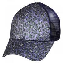 High Ponytail Glitter Leopard Mesh Adjustable Baseball Cap