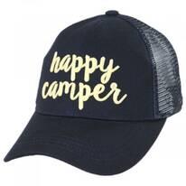 High Ponytail Happy Camper Mesh Adjustable Baseball Cap