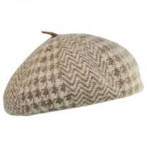 Herringbone Houndstooth Wool Beret