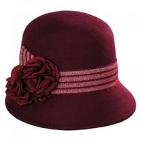 Chevron Fleur Wool Felt Cloche Hat