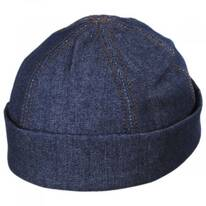 Six Panel Denim Cotton Beanie Hat