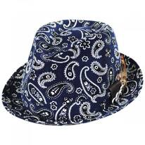 Imagine Corduroy Paisley Cotton Fedora Hat