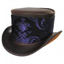 El Dorado Leather Top Hat with Purple Medallion Hat Wrap Band