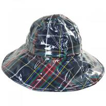 Plaid Wide Brim Rain Hat