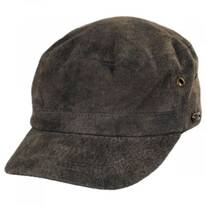 Weathered Leather Cadet Cap