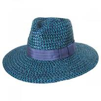 Joanna Blue/Navy Wheat Straw Fedora Hat