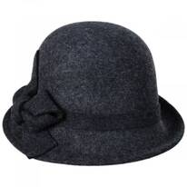 Twist Bow Side View Wool Felt Cloche Hat