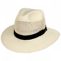 Bethpage Vent Crown Panama Straw Safari Fedora Hat