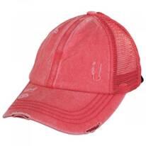 High Ponytail Distressed Mesh Trucker Baseball Cap