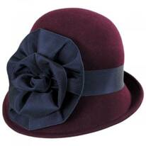 Ribbon Flower Profile Wool Felt Cloche Hat