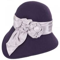 Bengaline Band Wool Felt Asymmetrical Cloche Hat - Made to Order