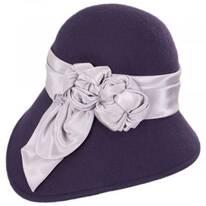 Bengaline Band Wool Felt Asymmetrical Cloche Hat - Made to Order