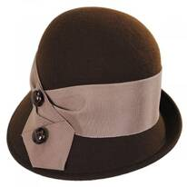 Tuxedo Trim Profile Wool Felt Cloche Hat - Made to Order