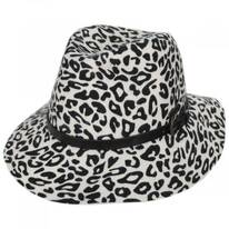Snow Leopard Wool Felt Fedora Hat