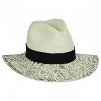 Animal Print Brim Toyo Straw Fedora Hat