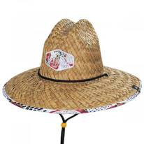 Pink Dragon Straw Lifeguard Hat