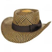 Two Tone Toyo Straw Gambler Hat