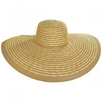 Striped Braided Straw Wide Brim Swinger Hat