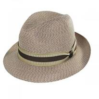 Monet Tweed Straw Braid Fedora Hat