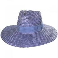 Joanna Light Blue Wheat Straw Fedora Hat