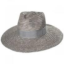 Joanna Silver Wheat Straw Fedora Hat