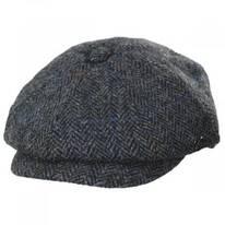 Harris Tweed Overcheck Herringbone Wool Newsboy Cap
