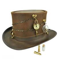Trinket Ammo Band Leather Top Hat