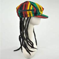 Rasta Cotton Newsboy Cap with Dreadlocks