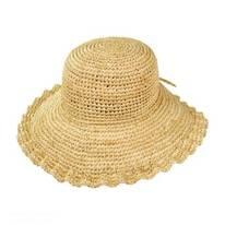 Crochet Raffia Straw Ruffle Brim Sun Hat
