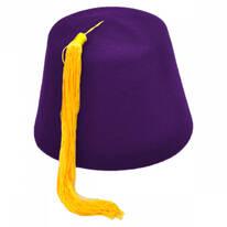 Purple Wool Fez with Gold Tassel