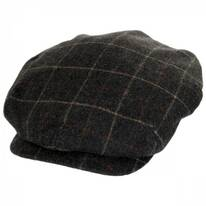 Windowpane Plaid Loden Wool 50P Newsboy Cap