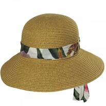 Toyo Straw Sun Hat with Print and Solid Scarves